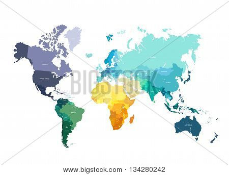 Color World Map Vector Illustration. Empty template with country names text. Isolated on white background with different colors of continents and countries.