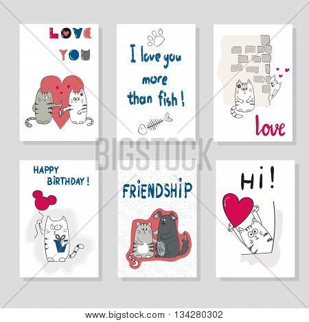 Set of cards templates with cute cats. Love theme. Vector illustration. Cards design with cartoon cats for birthday, anniversary, party invitations.