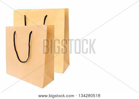 Paper shopping bag isolated on white background.