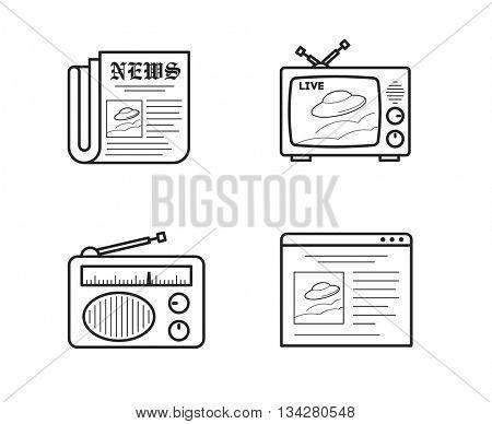 News media icons set // black & white