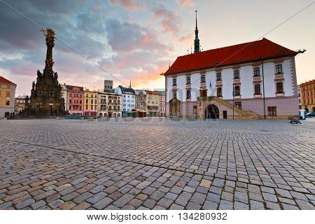 Holy Trinity Column and town hall in the main square of the old town of Olomouc, Czech Republic.