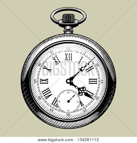 Old clock face. Retro pocket watch. Vintage engraving stylized drawing