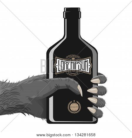 Hand gorily or another monkey, maybe a monster with a bottle of alcohol or energy in black with vintage abstract logo. Hand and fingers are grouped separate entity