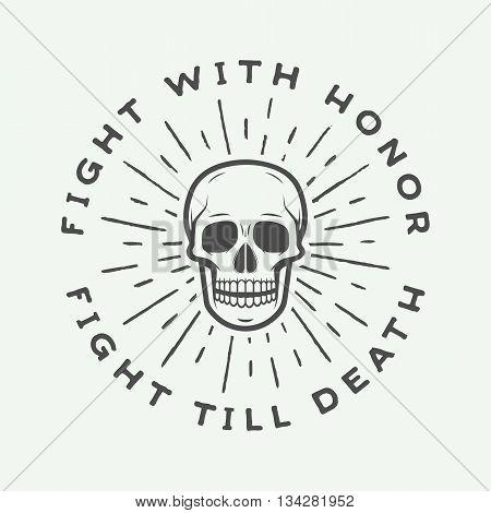 Vintage fighting skull label emblem and logo. Vector illustration