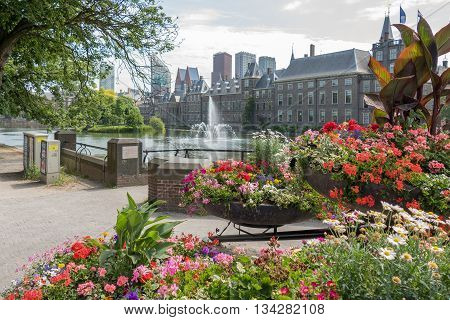 NETHERLANDS - THE HAGUE - MEDIA JUNE 2016: Court pond and Dutch parliament buildings on the Binnenhof with skyscrapers in the skyline in The Hague Netherlands.