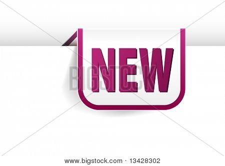 Purple rounded rectangle bookmark for new item in your eshop