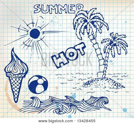 Summer doodle elements - sun, ocean, palm trees, ice cream, ball
