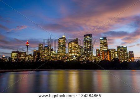 Sydney Skyline At Sunset