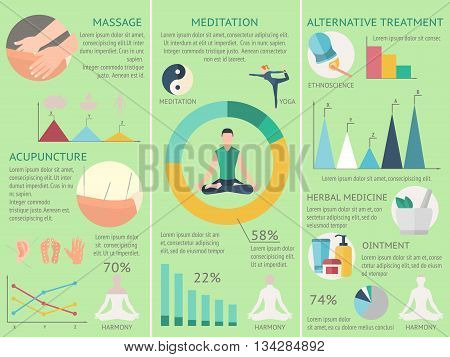 Three vertical acupuncture infographics set with descriptions of massage meditation and alternative treatment vector illustration