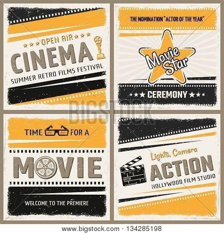 Four square cinema icon set in retro style