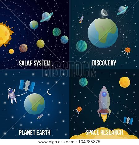 Four square space universe colored icon set with descriptions of solar system discovery planet earth and space research vector illustration