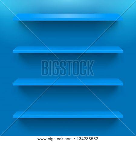 Four horizontal blue bookshelves on the wall