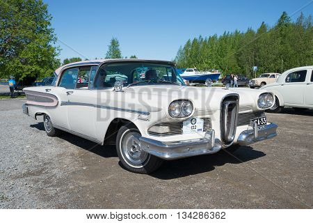 KERIMAKI, FINLAND - JUNE 06, 2015: American car Edsel Citation 1958 model year on the parade of vintage cars