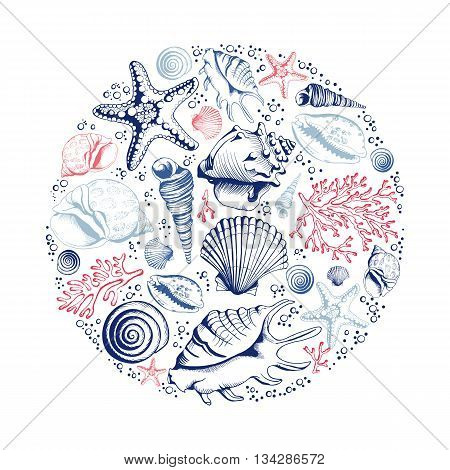 Vector card with seashells corals and starfishes. Marine background. Illustration in sketch style. Perfect for greetings invitations manufacture wrapping paper textile wedding and web design.