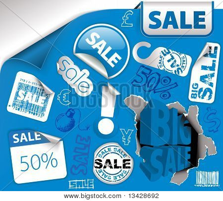 Set of blue discount tickets, labels, stamps, stickers, corners, tags (vector)