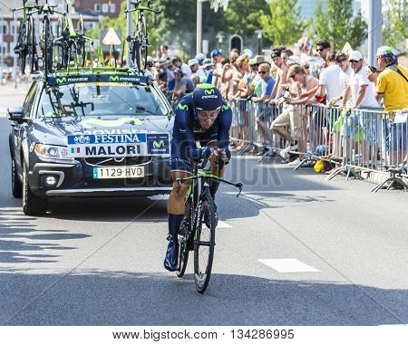 Utrecht,Netherlands - 04 July 2015: The Italian cyclist Adriano Malori of Movistar Team riding during the first stage (individual time trial ) of Le Tour de France 2015 in UtrechtNetherlands on 04 July 2015.