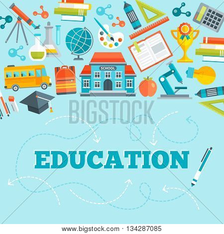 Education flat design with school building learning tools bus and inscription below on blue background vector illustration