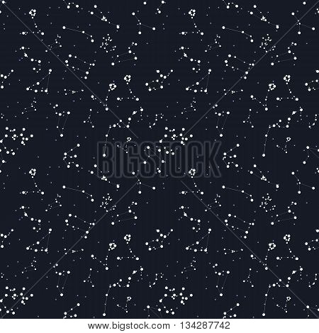 Seamless Pattern. Zodiac Sign of the Beautiful Bright Stars on Cosmic Sky Background. EPS10