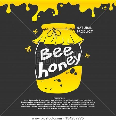 A jar of honey. Illustration for advertising honey. Bees and honeycombs. The inscription bee honey. A natural product of beekeeping.
