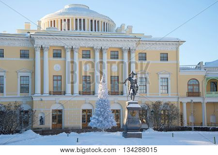 SAINT PETERSBURG, RUSSIA - FEBRUARY 09, 2015: The sculpture of Paul I in front of Pavlovsk Palace, day in february. The suburbs of St. Petersburg. Historical landmark