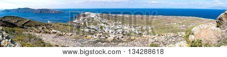 Panorama of Oia village. Santorini island, Greece
