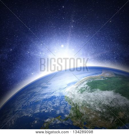 Earth Planet With Sunrise In Space.