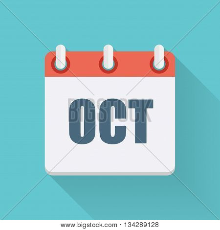October Dates Flat Icon with Long Shadow. Vector Illustration EPS10