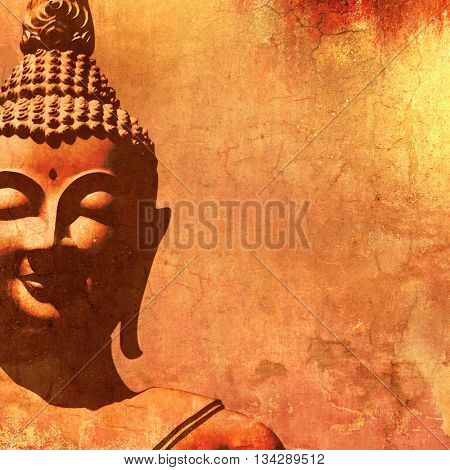 Buddha face silhouette in vintage painting style