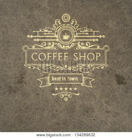 Trendy coffee badge on grange background  for design project