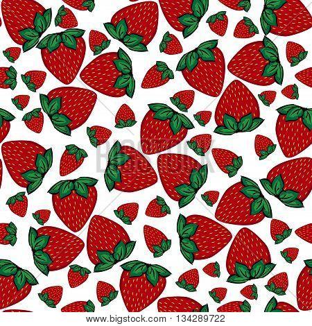 Seamless pattern strawberries berries. Painted strawberries white background.