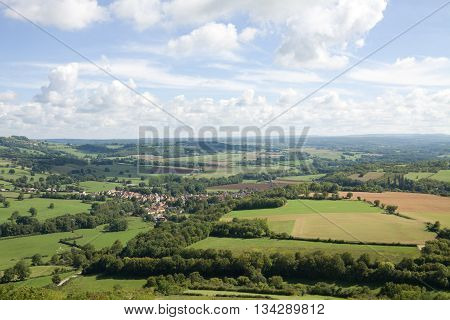 Picturesque aerial view in France. View from the hill of Vezelay Abbey. The Vezelay is located in the Yonne province in Burgundy.