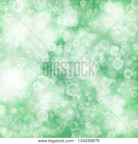 Flying out of focus light on a green blurred background. Vector defocused illustration