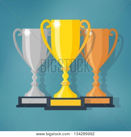 Gold, Silver and Bronze Trophy Cup. Different champions or winners cups in flat style. Vector illustration.
