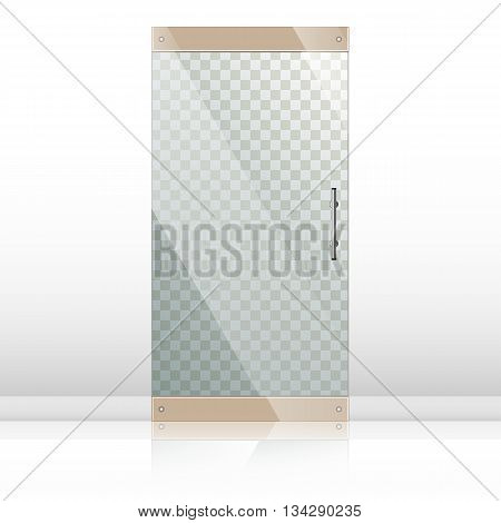 Vector transparent glass doors with mirror image in steel frame isolated on white wall. Architectural interior symbol. Front door EPS10