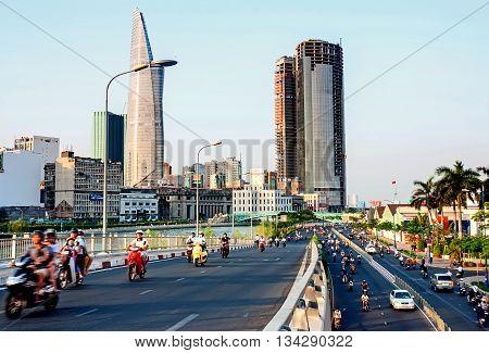SAI GON, VIET NAM, April 30, 2016 urban areas, downtown Sai Gon