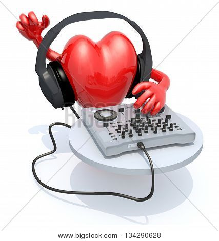 Big Heart With Dj Headset In Front Of Consolle