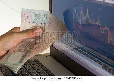 businessman and stock market graph and bar chart price display Businessman failure in stock market