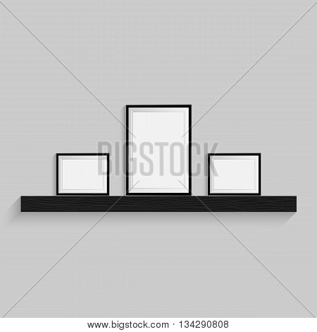 Tree black blank picture. Frame template for design poster. Picture frames set. Vector EPS10