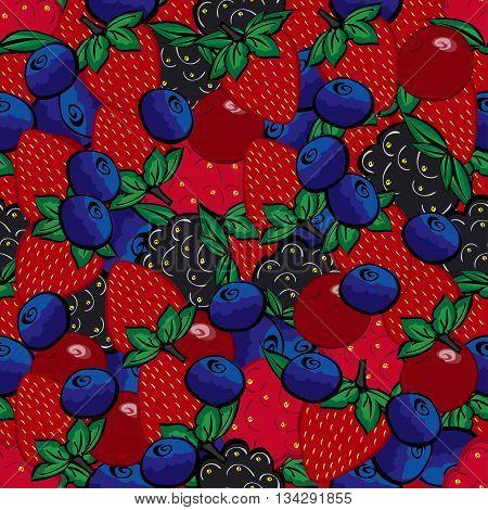 Seamless pattern with different berries. Painted bright blueberries raspberries strawberries cherries Blackberries.
