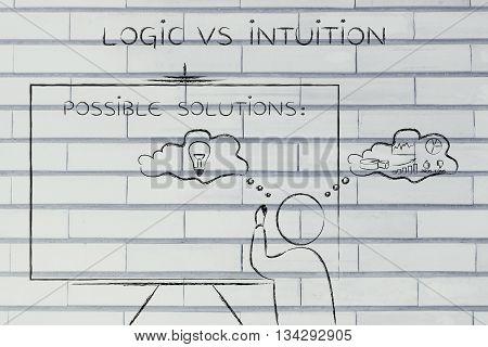 Logic Vs Intuition, Man Writing On Blackboard