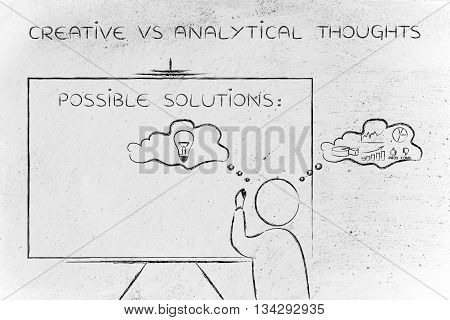 creative vs analytical thoughts: man writing on blackboard while elaborating imaginative thoughts (right side of his brain) and logical reasonings (his left side)