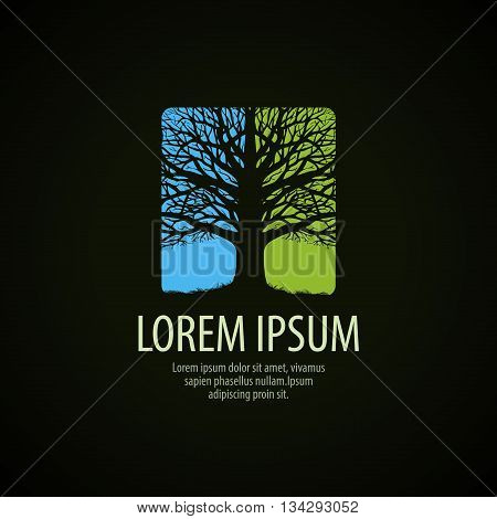 Tree logo. Nature, environment ecology icon Vector illustration