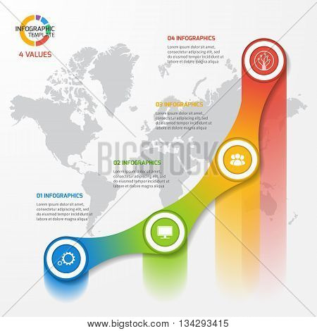 Line graph infographic template for charts and diagrams. Business education industry science concept with 4 values options parts steps processes.