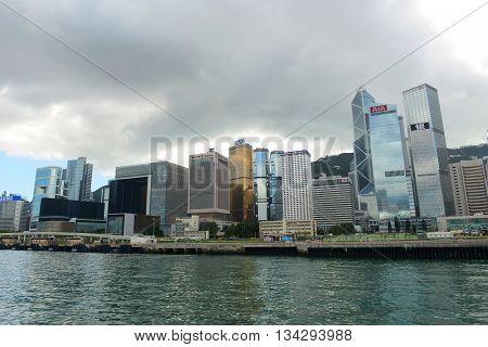 HONG KONG - NOV 9: Hong Kong Central Financial District skyscrapers, including Bank of China Tower, AIA Central, Cheung Kong Center, etc on Nov 9, 2015 in Hong Kong.
