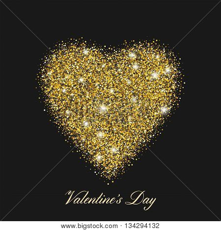 Heart shaped brilliant golden shine. With shining stars. Stylized text of the day of St. Valentines. Vector EPS10