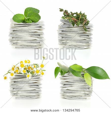 Teabags with herbal tea - mint chamomile and thyme