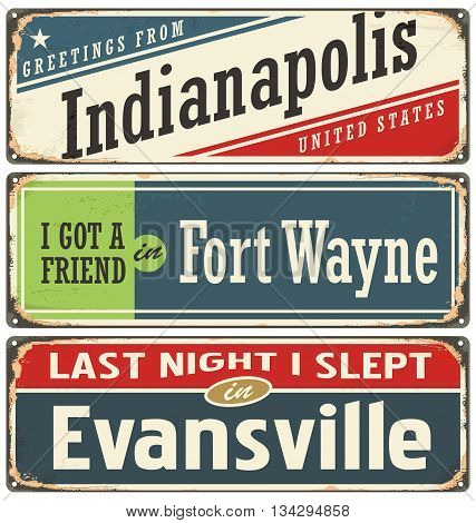 Retro tin sign collection with USA city names.Vintage vector souvenir or postcard layout. Travel theme. Places to visit and remember.