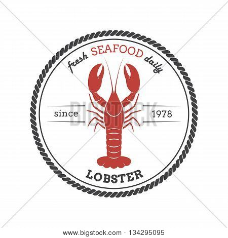Vector lobster silhouette. Lobster label. Template for restaurants stores food packaging. Seafood illustration.