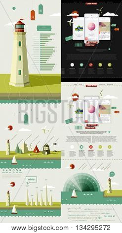 infographics elements with lighthouse on the landscape. mark up a page with three mobile phones