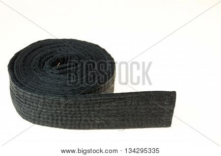 Martial art black belt isolated on white background